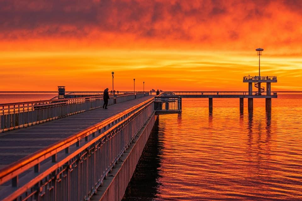 Fiery sunrise over Burgas